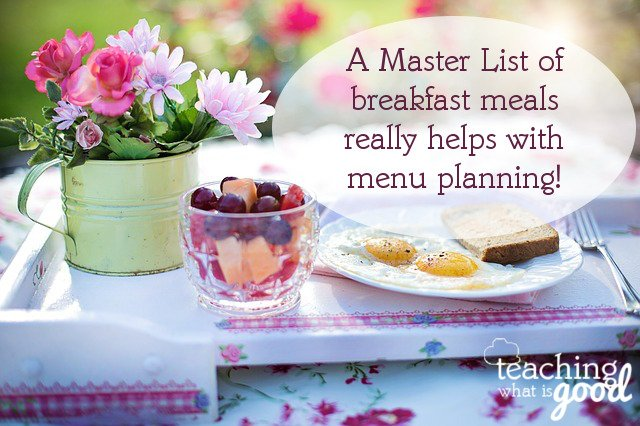 master list of breakfasts