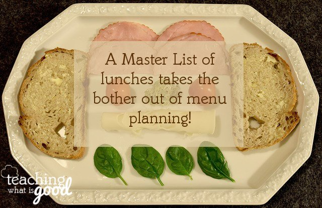 master lists of lunches