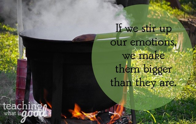 If we stir up our emotions, we make them bigger than they are.