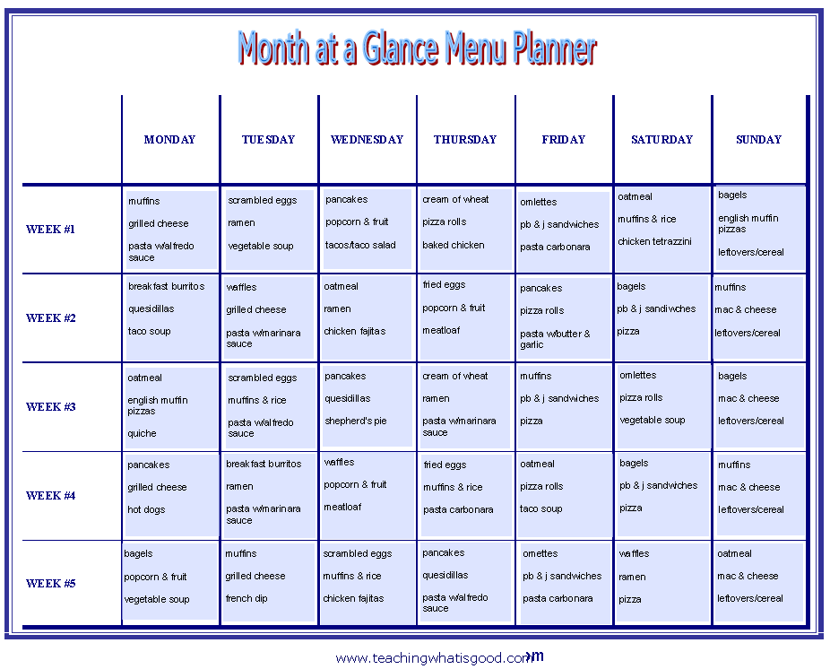 Month at a glance printable 2016 for Month at a glance blank calendar template