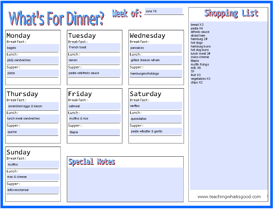 Menu Planning Monday - June 16
