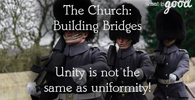 The church: working toward unity within the body of Christ.